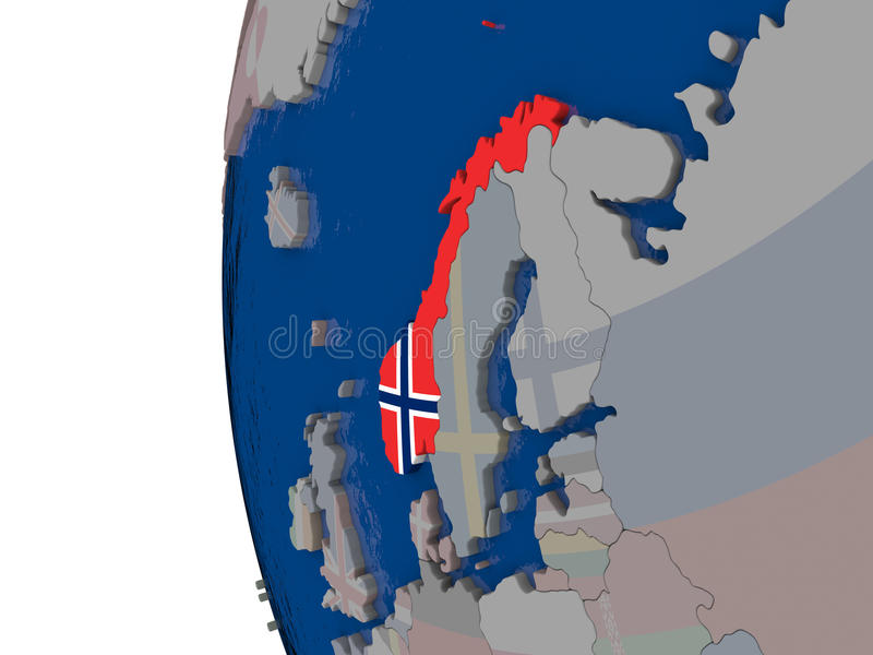 Noruega con la bandera nacional stock de ilustración