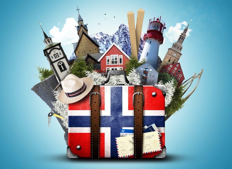 Noruega, mala de viagem retro foto de stock royalty free