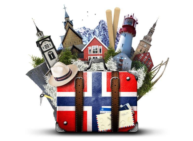 Noruega, mala de viagem retro imagem de stock royalty free