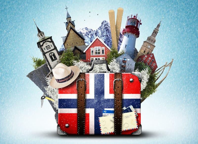 Noruega, mala de viagem retro imagem de stock
