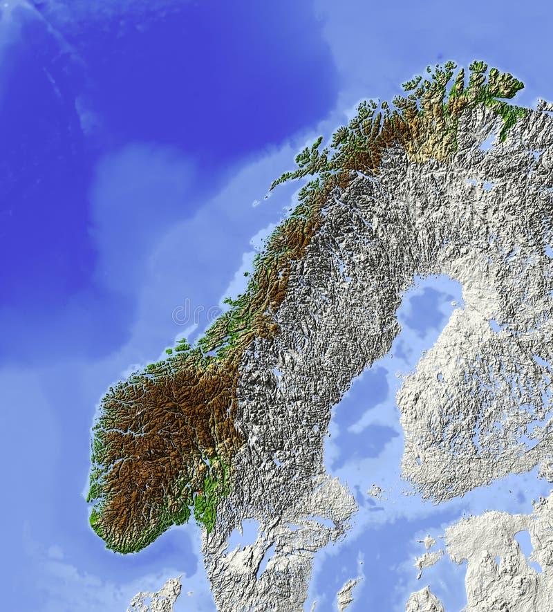 Noruega, mapa de relevo ilustração stock
