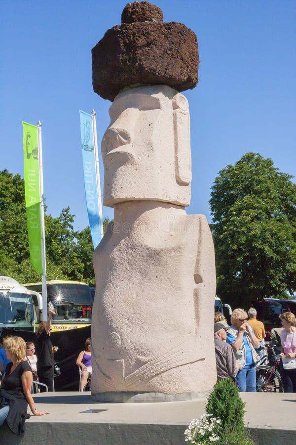 noruega Oslo Estatua de piedra delante de Kon-Tiki Museum imagen de archivo