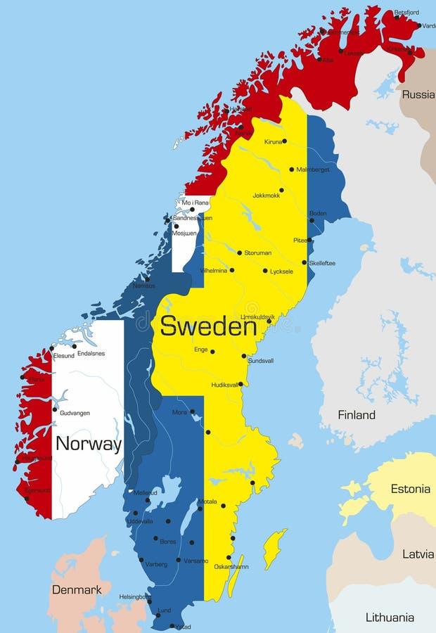 Noruega y Suecia stock de ilustración