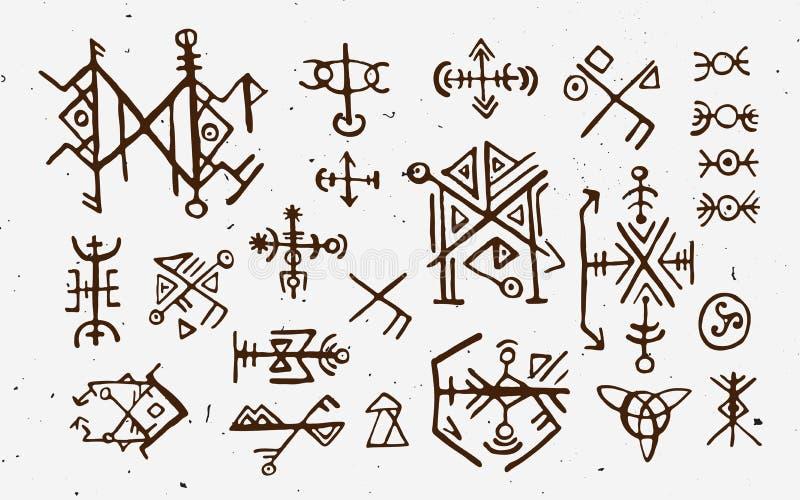 Noruegueses de Futhark islandic e runas de viquingue ajustadas Símbolos mágicos da tração da mão como talismãs baseados num guião ilustração do vetor