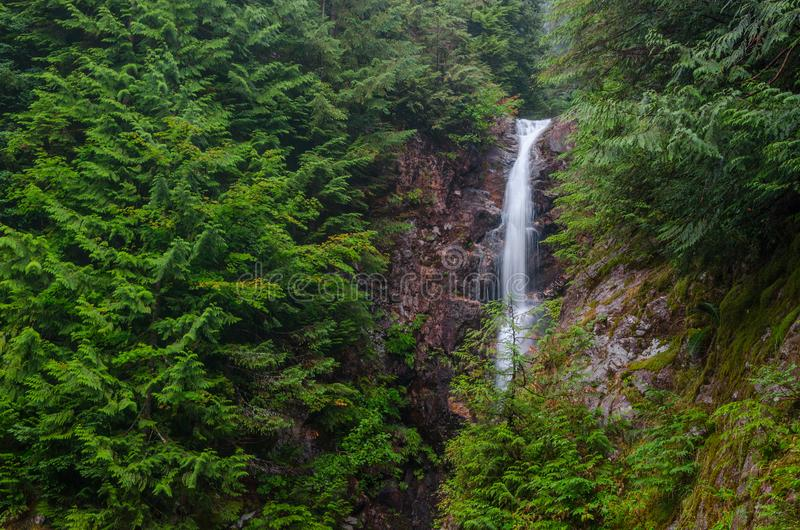 Norvan Falls waterfall, North Vancouver, British Columbia. Norvan Falls is a popular day hike destination in North Vancouver, British Columbia`s Lynn Headwaters stock photo
