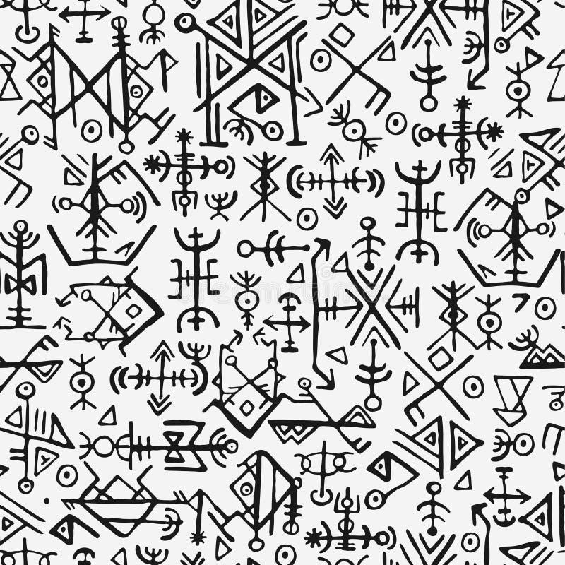 Norvegesi di Futhark islandic e modello senza cuciture di simbolo di vichingo Simboli magici di tiraggio della mano come talisman royalty illustrazione gratis