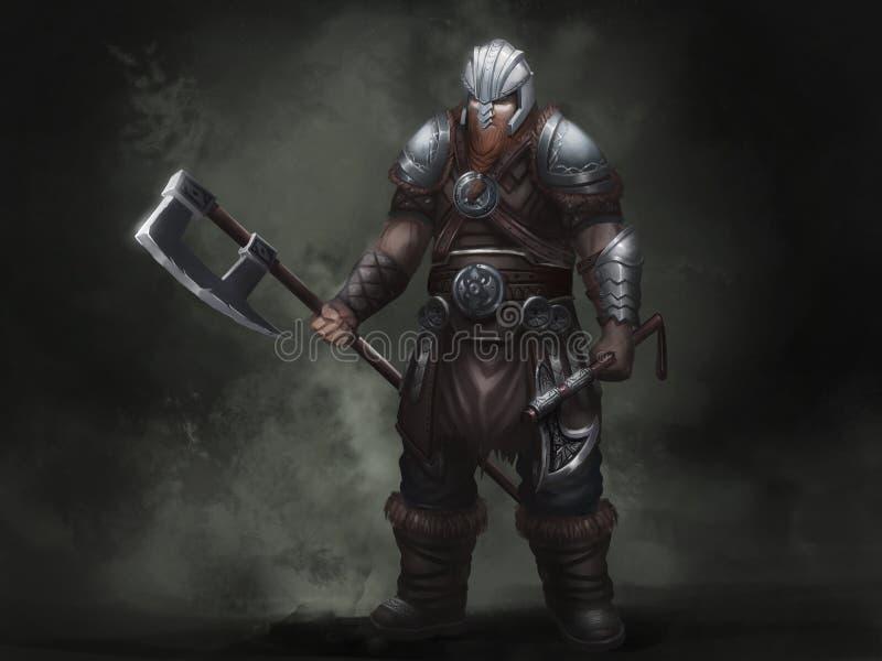 Norvegesi Viking di fantasia Progettazione di carattere del guerriero Illustrazione realistica illustrazione di stock