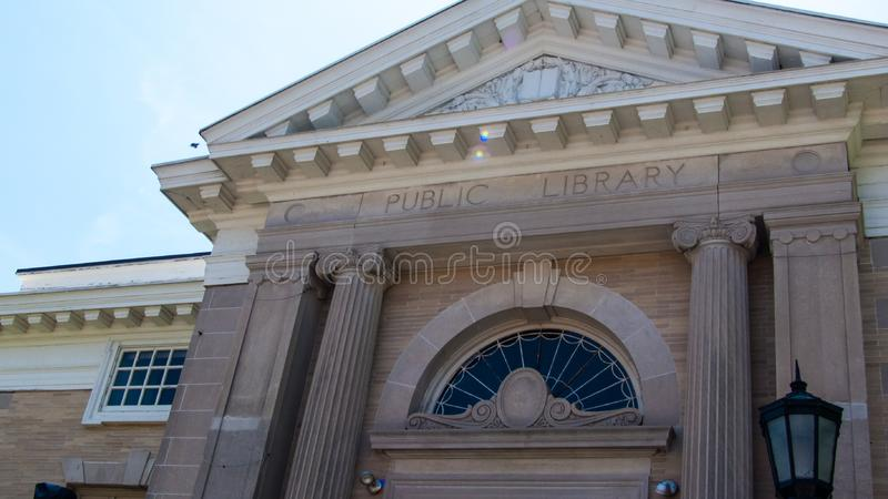 Norwalk Public Library Connecticut marble building, ancient Greek feel stock photo