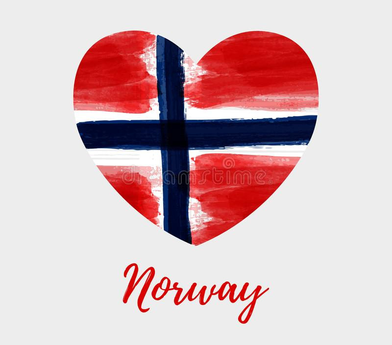 Norway background with heart flag vector illustration