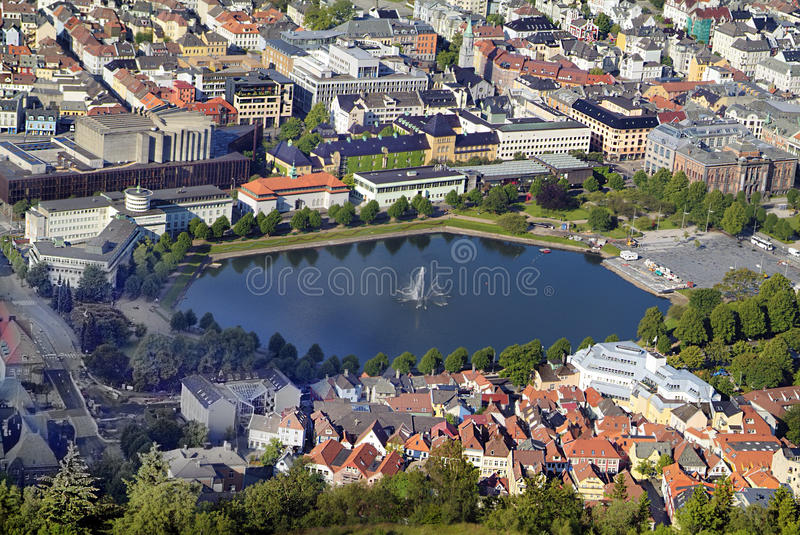 Norway, Bergen. Aerial view with different buildings and lake Lille Lungengardsvannet stock photography