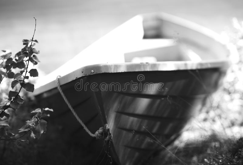 Norway black and white boat object background. Hd stock photography