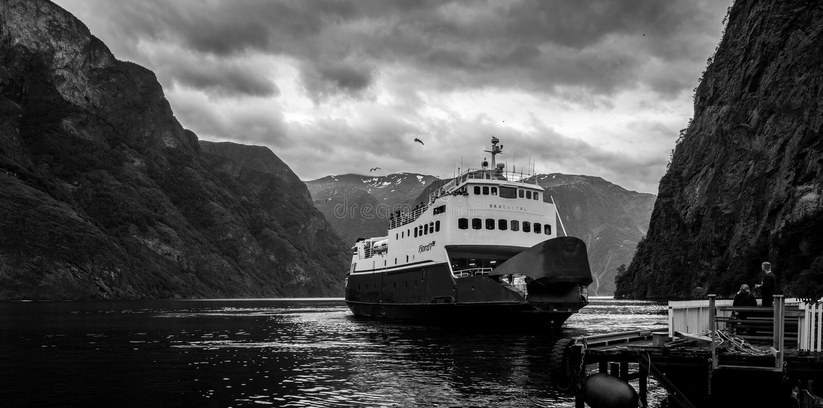 Norway car ferry between fjords stock photography
