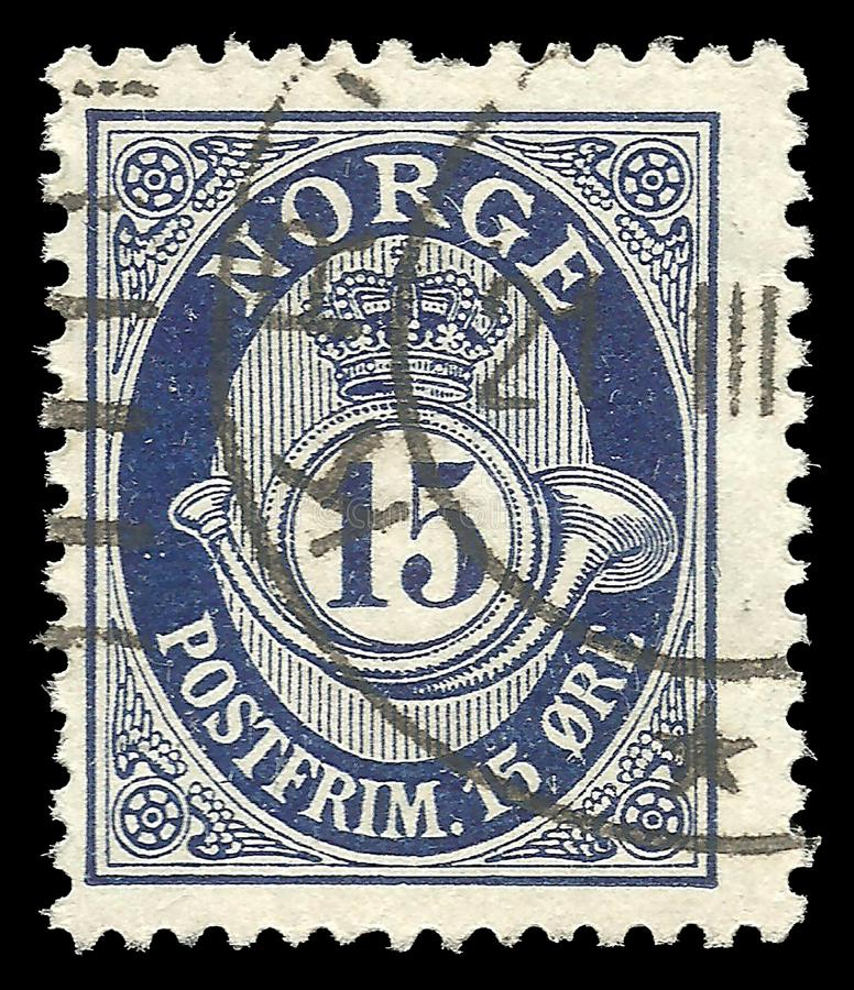Norway, Standard edition, shows Posthorn NORGE in Roman Capitals. Norway - circa 1920: Stamp printed by Norway, Standard edition, shows Posthorn NORGE in Roman royalty free stock photos