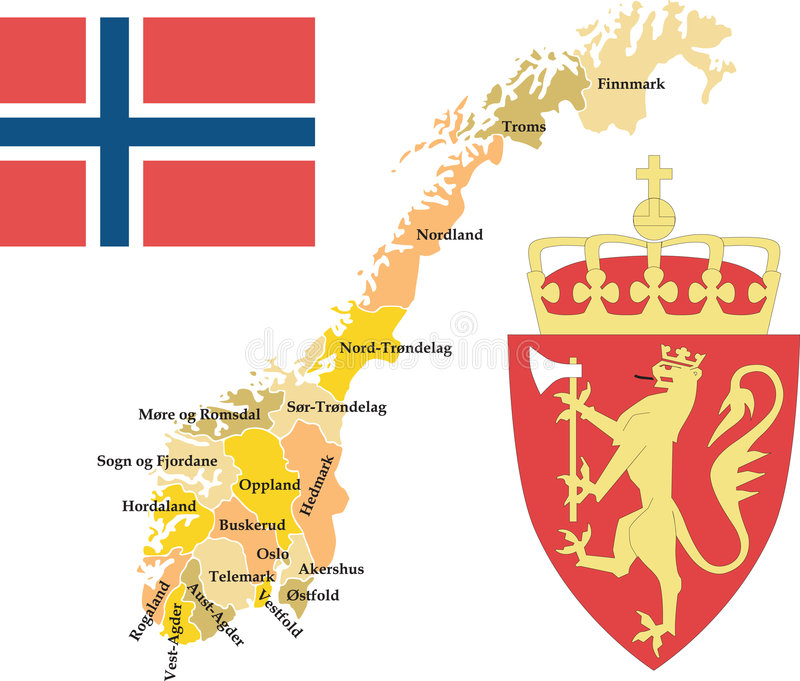 Norway with counties. royalty free illustration