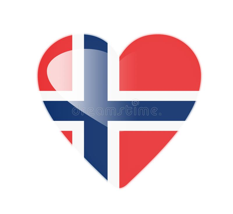Norway 3D heart shaped flag vector illustration