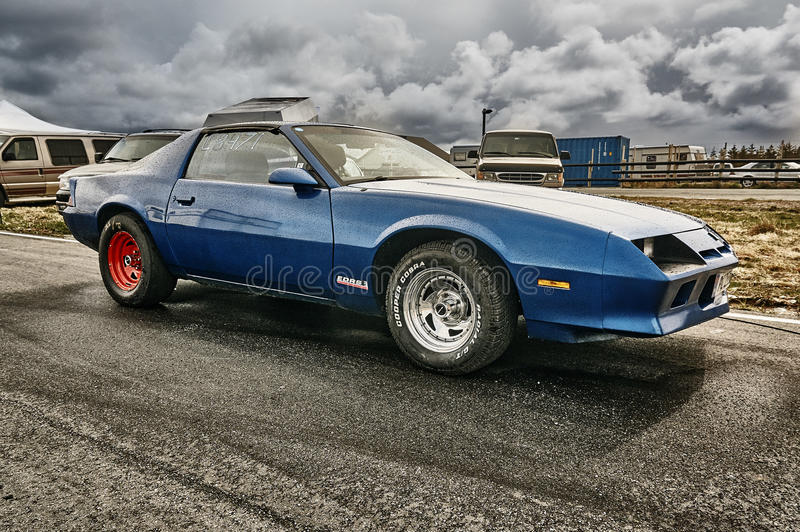 Norway drag racing, blue race car side view stock image