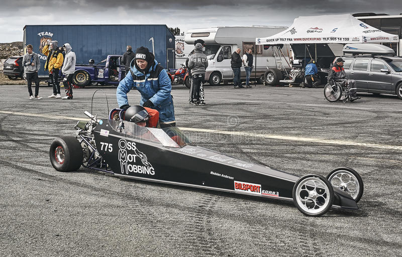 Norway drag racing, driver in the cockpit of the car car race royalty free stock photo