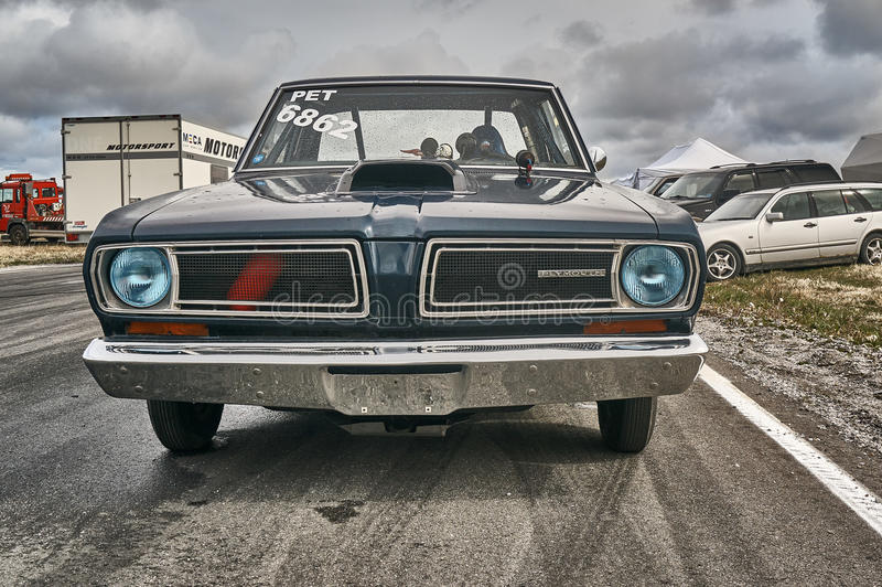 Norway drag racing, navy blue race car side view royalty free stock image
