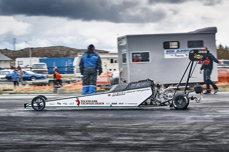 Norway drag racing, race car while driving royalty free stock photo