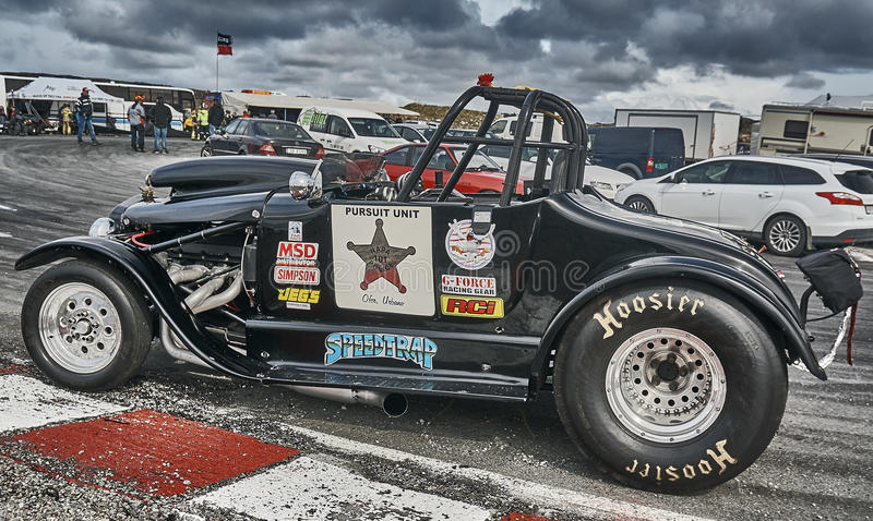 Norway drag racing, tuned race car side view royalty free stock images