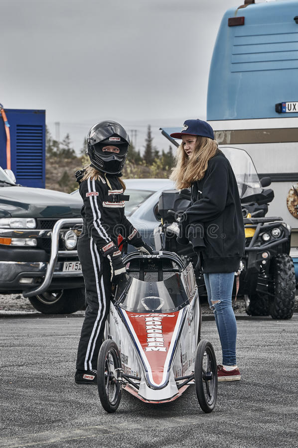 Norway drag racing, Two young women before the race. stock photo