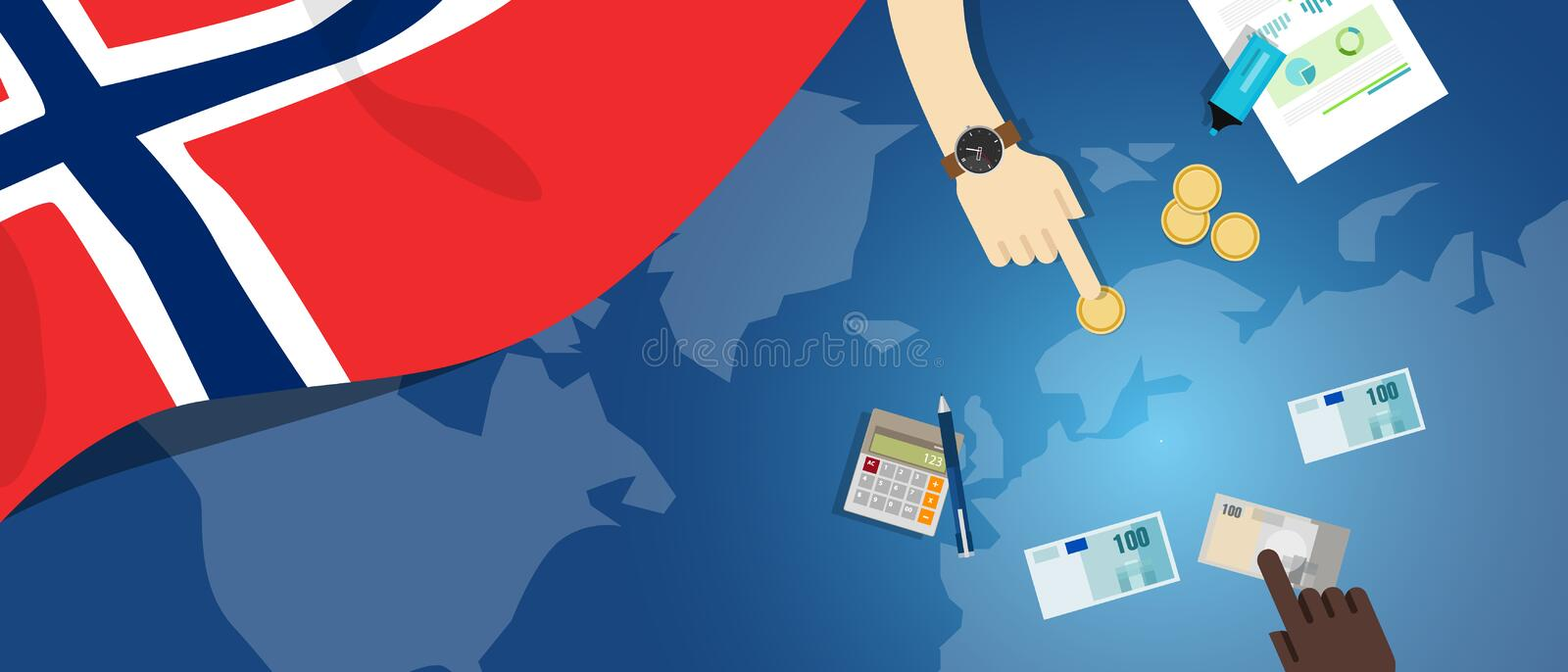 Norway economy fiscal money trade concept illustration of financial banking budget with flag map and currency. Vector royalty free illustration
