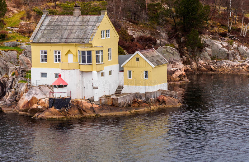 Norway Fjord House. Lodge house on the shore of a fjord near Bergen, Norway stock photo