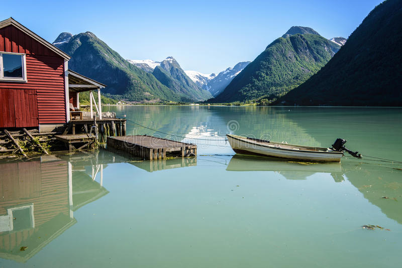 Norway fjord reflection royalty free stock image