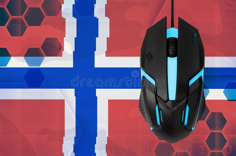 Norway flag and computer mouse. Concept of country representing e-sports team. Norway flag and modern backlit computer mouse. Concept of country representing e stock photography