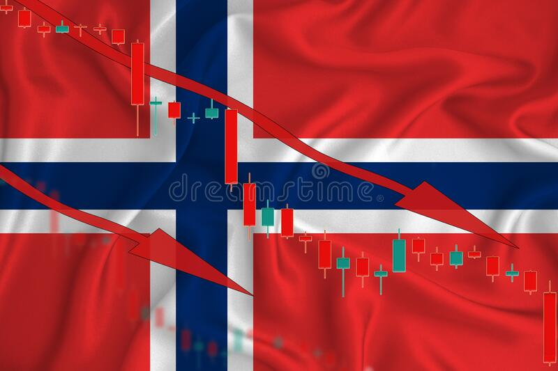 Norway flag, the fall of the currency against the background of the flag and stock price fluctuations. Crisis concept with falling. Stock prices of companies royalty free stock photo