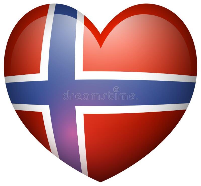 Norway flag in heart shape stock illustration