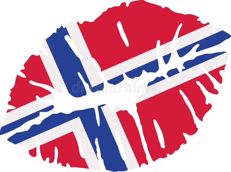 Norway flag kiss royalty free illustration