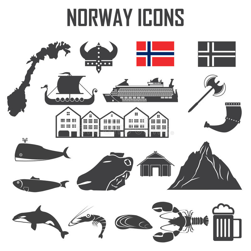 Norway icon set. stock illustration