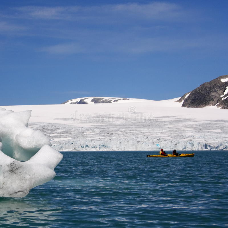 Norway: Kayak near glacier stock photography