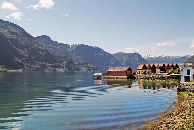 Norway, Luster. Norway, chalets on Sognefjord, preferred holiday accommodation royalty free stock photos