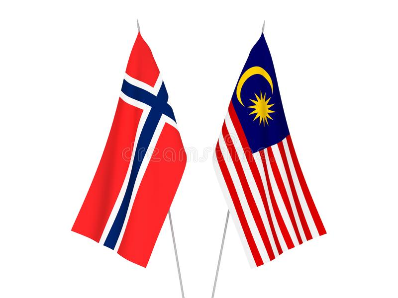 Norway and Malaysia flags. National fabric flags of Norway and Malaysia isolated on white background. 3d rendering illustration stock illustration