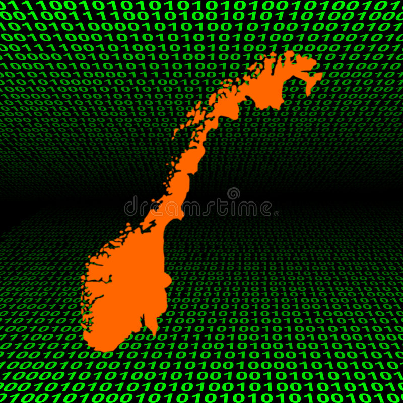 Download Norway Map On Binary Code Stock Photography - Image: 7424252