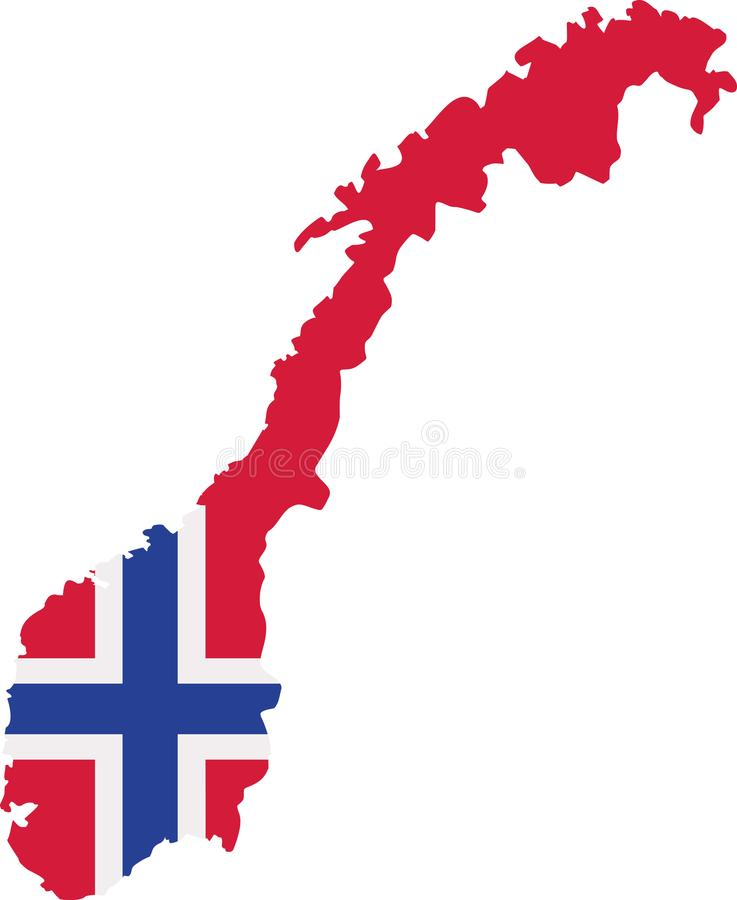 Norway map with flag royalty free illustration
