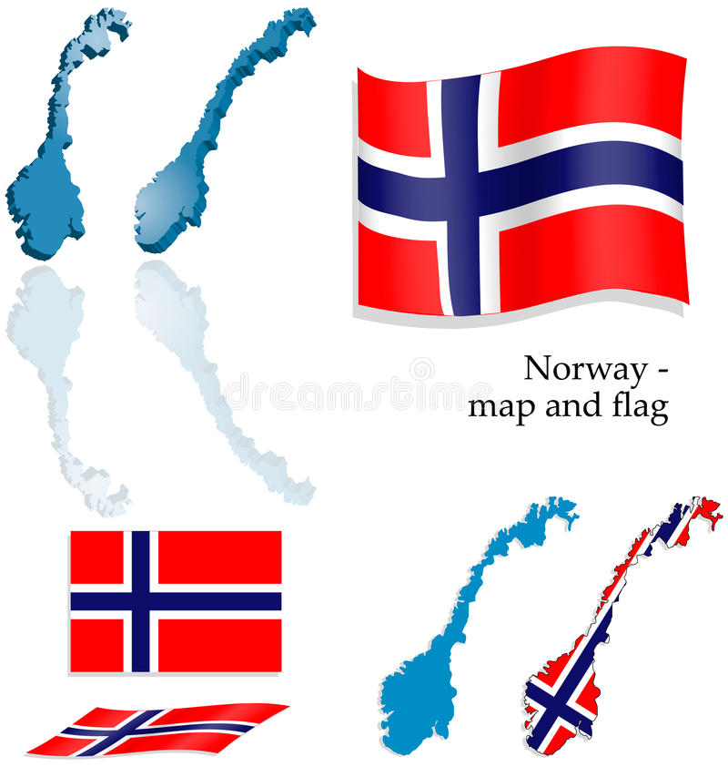 Norway - map and flag set royalty free stock photos