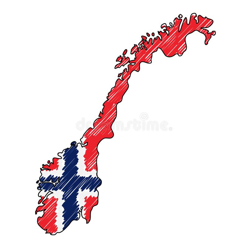 Norway map hand drawn sketch. Vector concept illustration flag, childrens drawing, scribble map. Country map for vector illustration