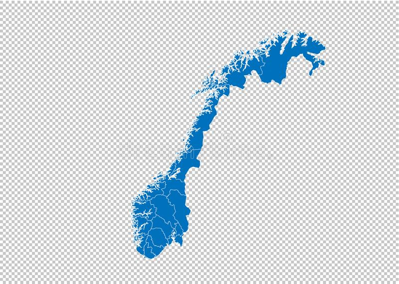 Norway map - High detailed blue map with counties/regions/states of norway. norway map isolated on transparent background royalty free illustration