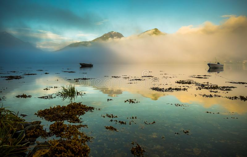 Norway Morning scene at fjord stock images