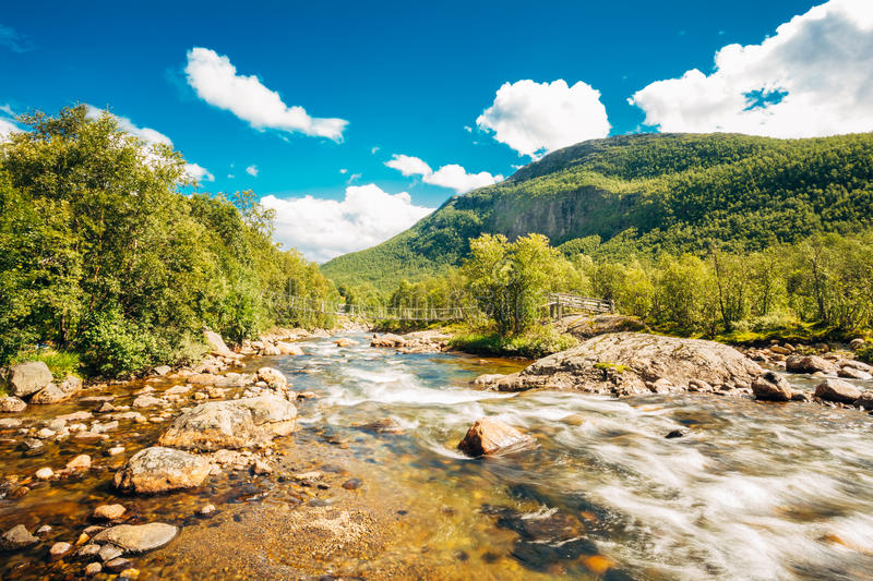 Norway Nature Cold Water Mountain River. Norway Nature River. Sunny Summer Day, Landscape With Mountain, Pure Cold Water River, Pond stock images