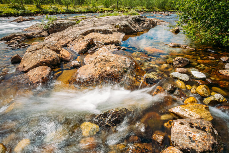 Norway Nature Cold Water Mountain River. Norway Nature River. Sunny Summer Day, Landscape With Mountain, Pure Cold Water River, Pond royalty free stock photography