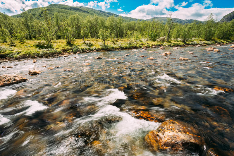 Norway Nature Cold Water Mountain River. Norway Nature River. Sunny Summer Day, Landscape With Mountain, Pure Cold Water River, Pond royalty free stock photo