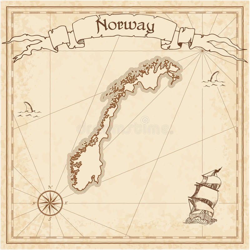 Norway Old Treasure Map Stock Vector Image - Norway map drawing