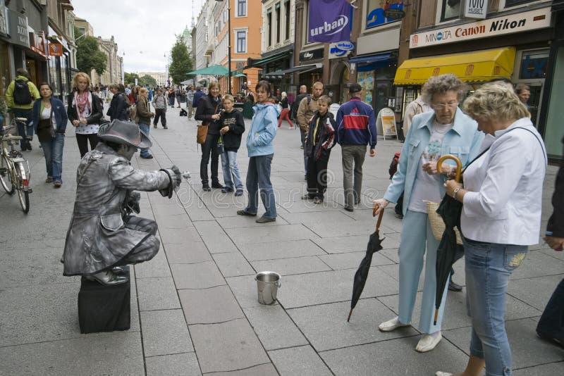 norway Oslo Centrum miasta mima turyści i artysta fotografia royalty free