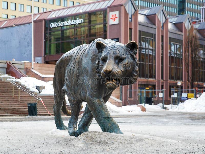 norway Oslo rzeźby tygrys fotografia royalty free