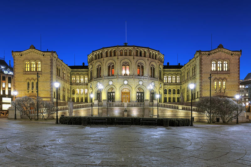 Norway parliament building in Oslo in night. Storting building, the seat of the parliament of Norway, in Oslo in night stock photo