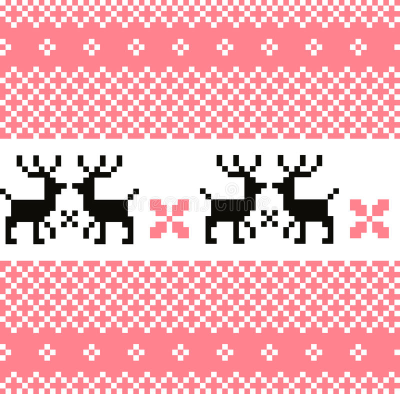 Norway pattern with reindeer. Cute Norwegian knitted pattern or background. Vector vector illustration
